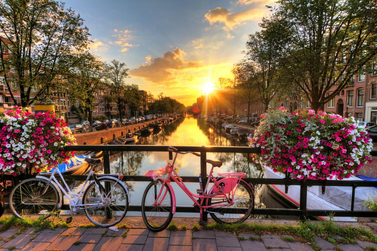Beautiful sunrise over Amsterdam, The Netherlands, with flowers and bicycles on the bridge in spring